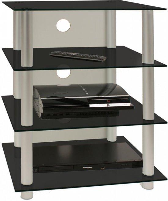 Glazen Audio Tv Meubel.Tv Hifi Meubel Blados Zwart Glas Aluminium