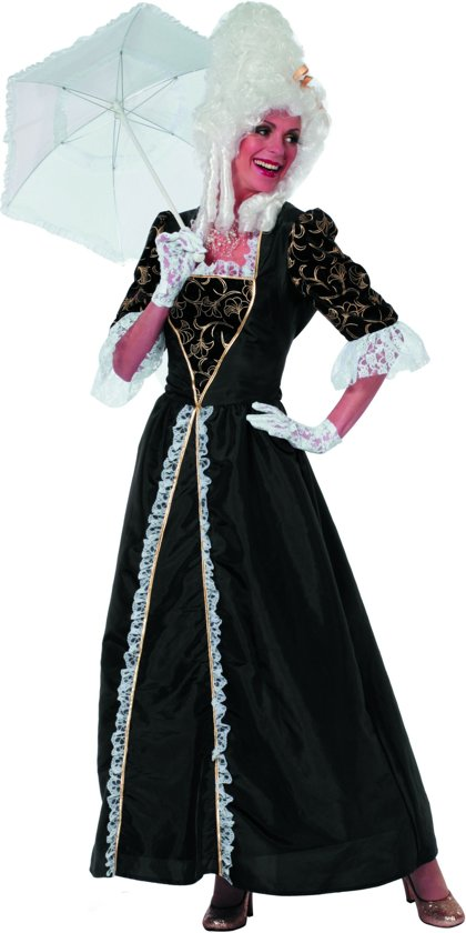 Markiezin taft jurk middeleeuwen zwart Maat 46