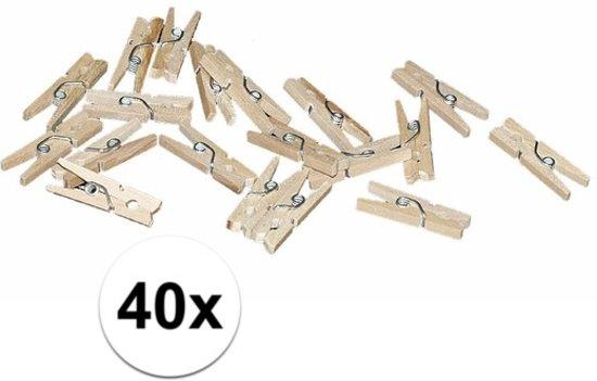 40x mini knijpertjes naturel - 2 cm - Kleine/ mini knijpers