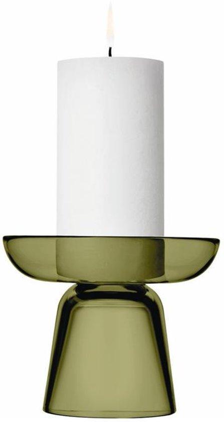 Kaarsenhouder 10,7cm glas Mosgroen