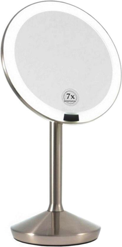 make up spiegel met led verlichting en lichtsensor 7x vergrotend rvs
