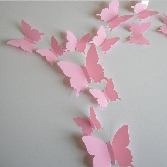 3d Muurdecoratie Kinderkamer.3d Vlinders Rose 12 Stuks Muursticker Muurdecoratie Voor Kinderkamer Babykamer Woonkamer