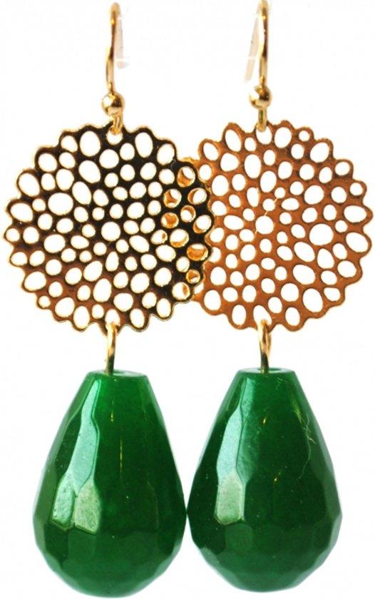 Oorbellen met filigrain en agaat edelsteen, groen