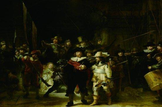 Glasschilderij -De Nachtwacht, Rembrandt van Rijn, 120x80cm