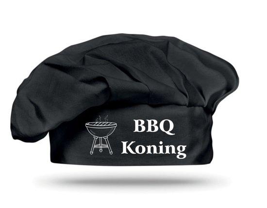 Mijncadeautje - Leuke Koksmuts - zwart - klittenband sluiting - 100% Katoen - BBQ Koning
