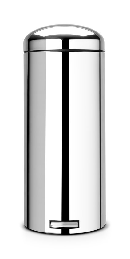 Brabantia Pedaalemmer Retro Bin.Brabantia Retro Bin Silent Prullenbak 30 L Brilliant Steel
