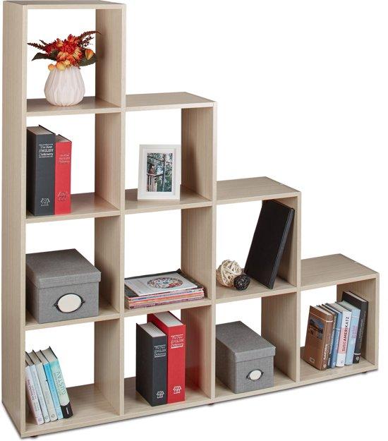 relaxdays - boekenkast hout met 10 vakken - roomdivider - trapvormige rek / kast