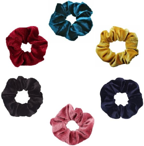 scrunchieshop.com Set van 6 scrunchies - Groen/Geel/Navy Blauw/Roze/Zwart/Rood