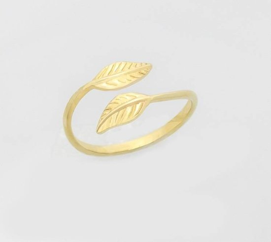 Lovelymusthaves Leaf bol blad plant trendy Ring - Dames - goudkleurig