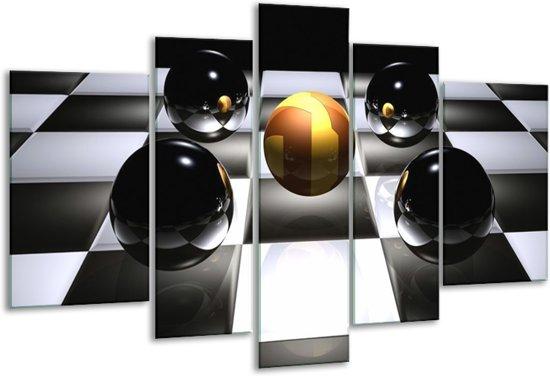 Glasschilderij Ball | Wit, Zwart, Geel | 170x100cm 5Luik | Foto print op Glas |  F004090