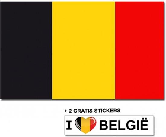 Belgische vlag met 2 gratis Belgie stickers
