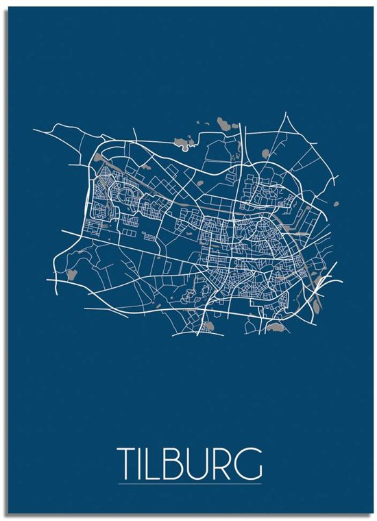 DesignClaud Tilburg Plattegrond poster Blauw A3 poster zonder fotolijst