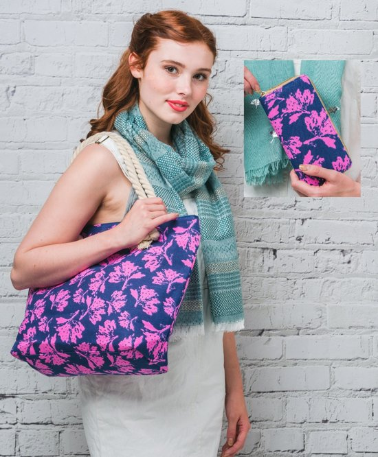 5914ec81ea0 Hazel & Pip Flower Patroon Canvas Strandtas Shopper met bijpassende  Portemonnee