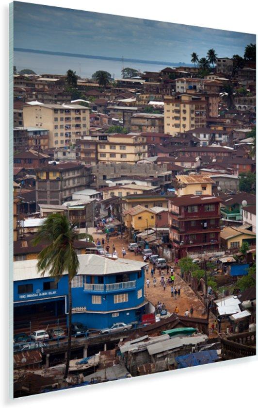 Uitzicht van Freetown in Sierra Leone vanaf het Aberdeen Hill District Plexiglas 80x120 cm - Foto print op Glas (Plexiglas wanddecoratie)
