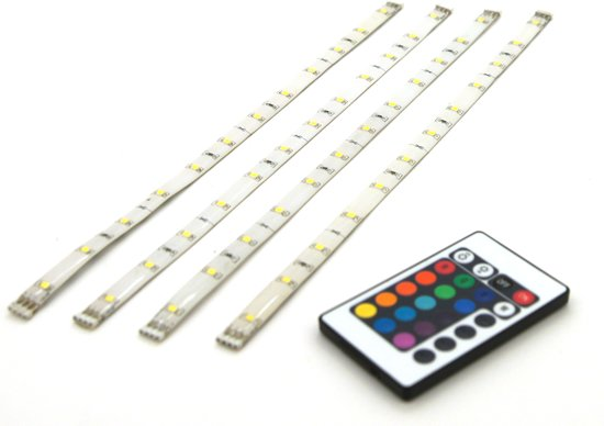 prolight led strip rgb flexibel 4x30cm dimbaar ip44 met afstandsbediening