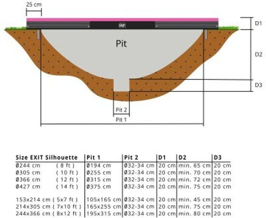 EXIT Silhouette Inground Trampoline 244 x 366 cm