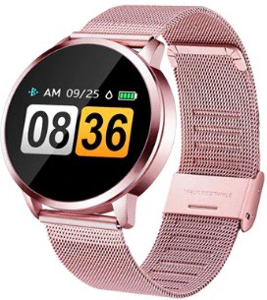 DrPhone DQ Sport Smartwatch – Stappenteller – Touch OLED 0.95 inch – Bluetooth 4.0 – Fitness horloge – Roestvrij Staal – Waterdicht IP67 – Polshorloge – Notificaties - Man & Vrouw – Rosegoud
