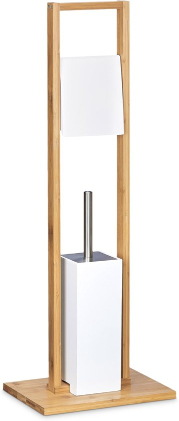 Wc Borstel En Toiletrolhouder.Relaxdays Vrijstaande Toiletaccessoireset Bamboe Toiletrolhouder Wc Borstel Wit