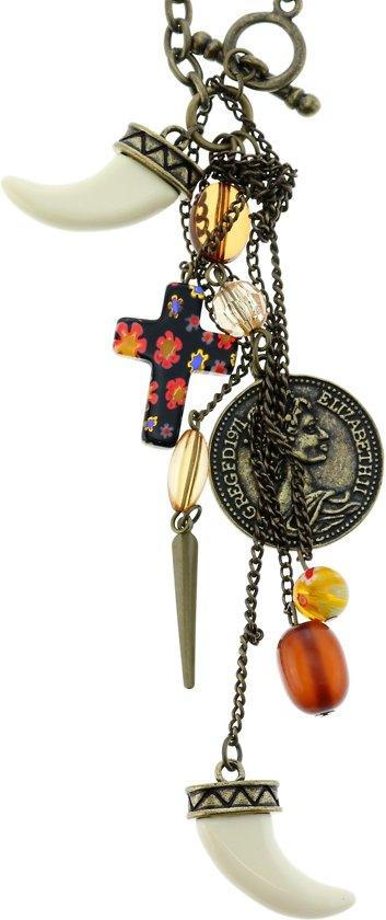 Lange antiek-goudkleurige ketting met munt, tand, kruisje en bruine kralen
