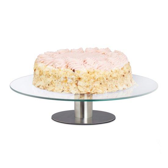 relaxdays taartplateau draaibaar op voet - taartschaal - taartstandaard glas - Ø 30 cm