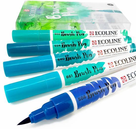 """Ecoline """"Groen/Blauw"""" Brushpennen set van 5 in een Zipperbag"""