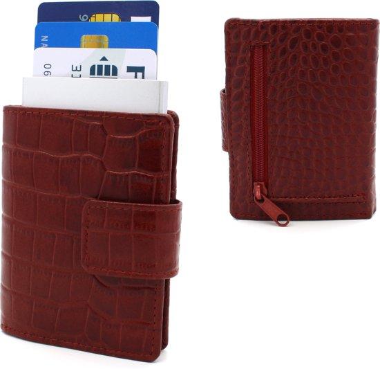 4d87f615ccd Figuretta leren RFID uitschuifbare creditcardhouder - Brief en muntgeld -  Inclusief sleutelhanger - Croco Rood