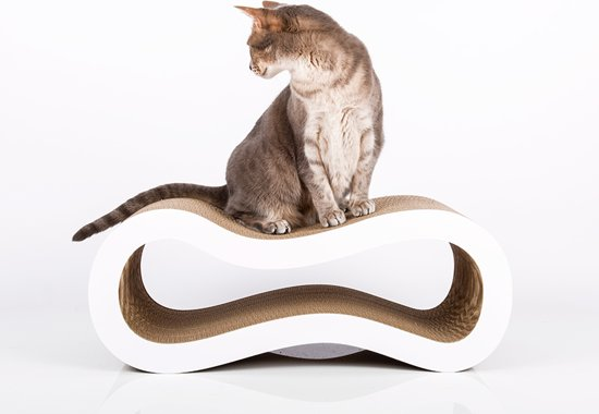 Cat-On® design kartonnen krabmeubel SINGHA M - 000x wit
