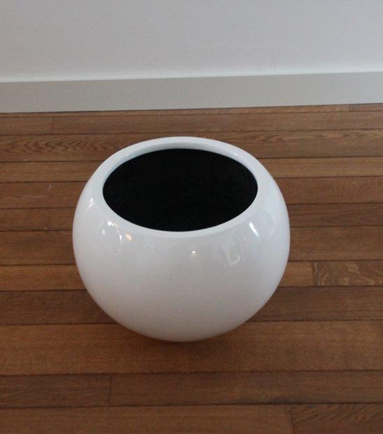 Bloempot Binnen Wit.Bol Com Bloempot Fiberstone Hoogglans Wit 40cm Voor Binnen En Buiten