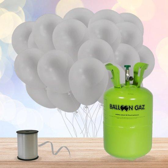 Helium Tank met 30 Zilveren Ballonnen en Lint