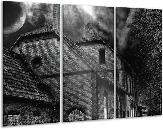 Canvas schilderij Gebouw | Grijs, Zwart, Wit | 120x80cm 3Luik