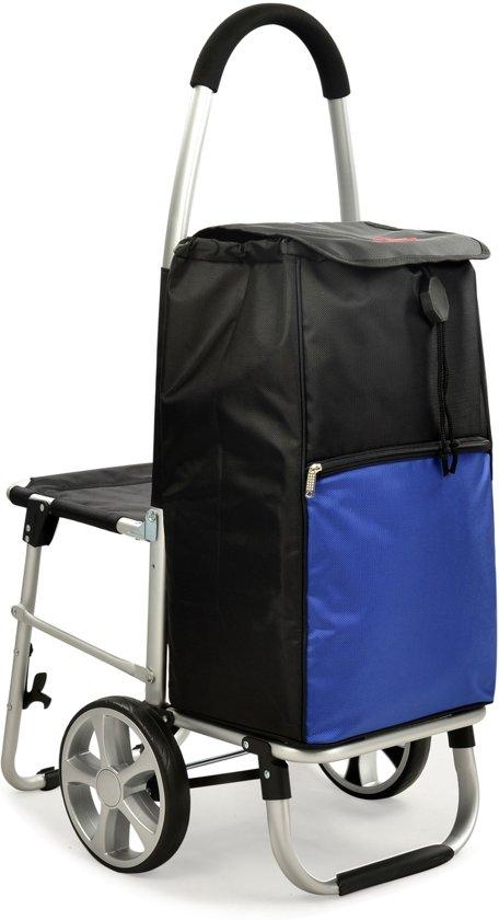 Zitje Voor Op Stoel.Bol Com Travelz Boodschappenwagen Met Uitklapbare Stoel 60 Liter