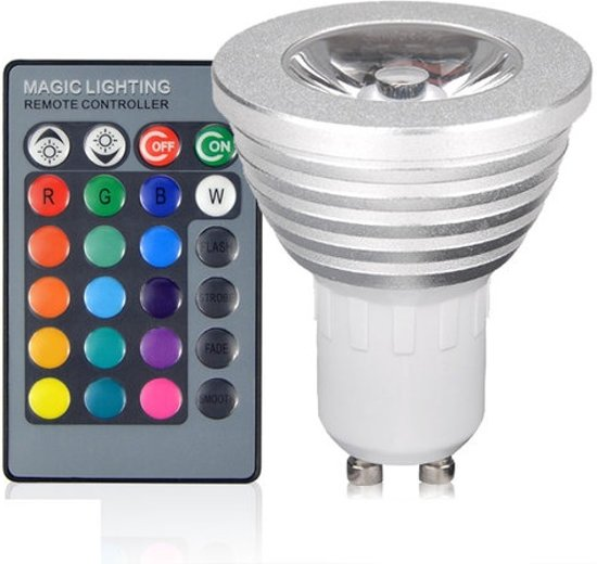 Dimbare Led Lamp Met Afstandsbediening.Groenovatie Led Spot Gu10 Fitting 3w Rgb 62x50 Mm Dimbaar Incl Afstandsbediening