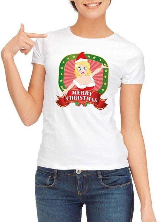 34f1b186e0f90d Foute Kerst shirt voor dames - Merry Christmas - wit XL