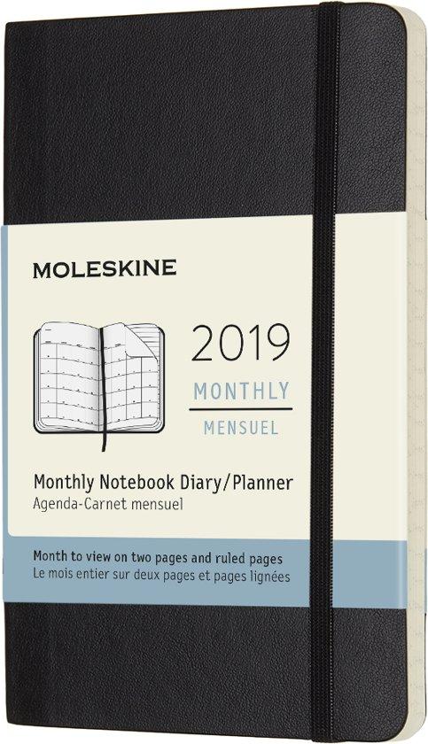 Moleskine agenda 2019 - 12 maanden - Maandelijks - Zwart - Pocket - Soft cover