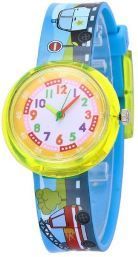 Auto/ brandweerauto - kinderhorloge/ peuter horloge - educatief horloge- jongens - blauw/geel - 30 mm - I-deLuxe verpakking