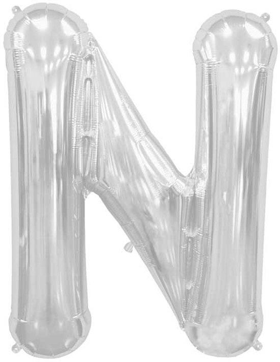Zilverkleurige letterballon letter N - 86 cm