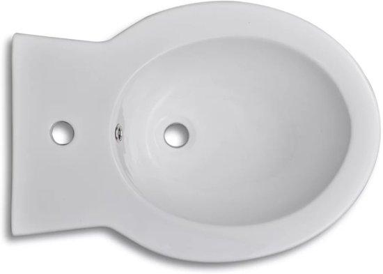 vidaXL Keramisch Toilet Rond wit + Bidet