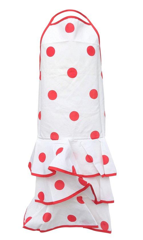 Spaanse schort - Flamenco - keukenschort wit rode stip verkleedkleding