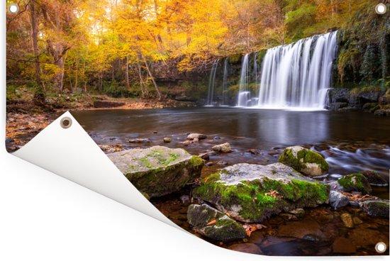 Waterval in het Britse Nationaal park Brecon Beacons Tuinposter 120x80 cm - Tuindoek / Buitencanvas / Schilderijen voor buiten (tuin decoratie)