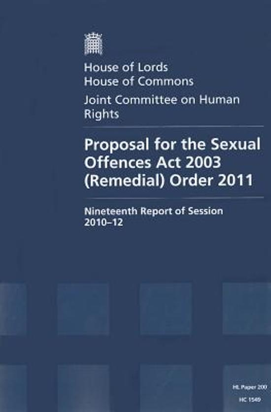 Proposal for the Sexual Offences Act 2003 (Remedial) Order 2011