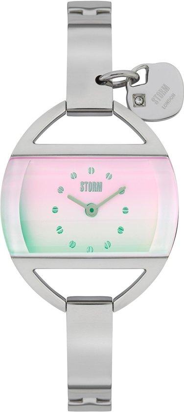 Storm Horloge- Temptress Charm Lazer Pink- Zilveren band- Roze wijzerplaat- Bedeltje