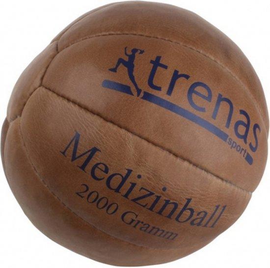 Trenas - Medicijnbal - Medicine bal - Klassische professionele medicijnbal - Leer - 2 kg - Bruin