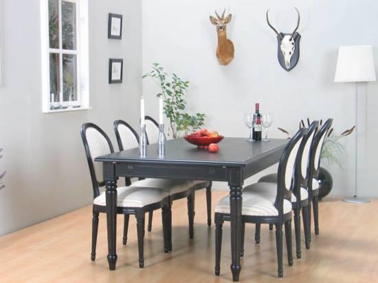 Verwonderend bol.com   Mozart barok eethoek zwart 180/280x100 met 6 stoelen KD-62