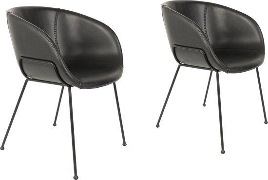 Bol zuiver feston stoel met armleuning zwart set van