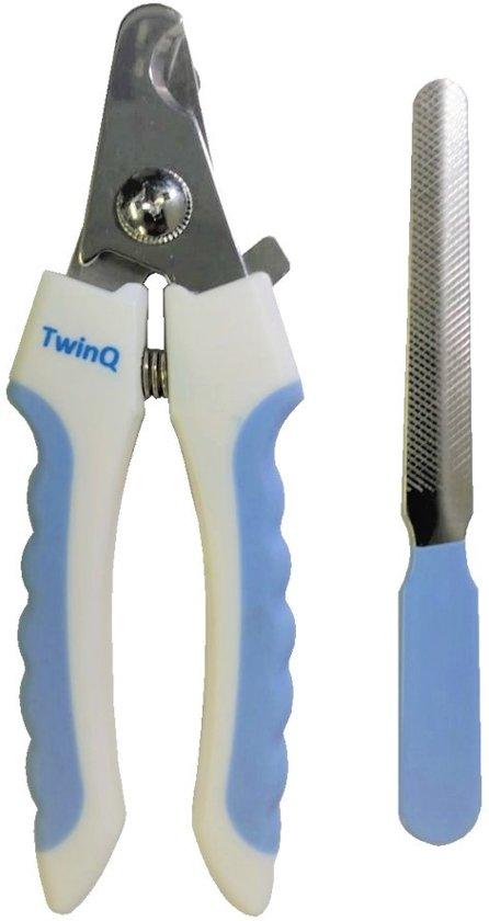 TwinQ - Professionele nagelknipper voor honden - Inclusief nagelvijl - Blauw/wit
