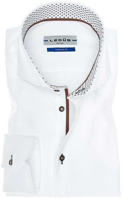 Overhemd Extra Lange Mouw.Bol Com Ledub Overhemd Tailored Fit Extra Lange Mouw Wit Met