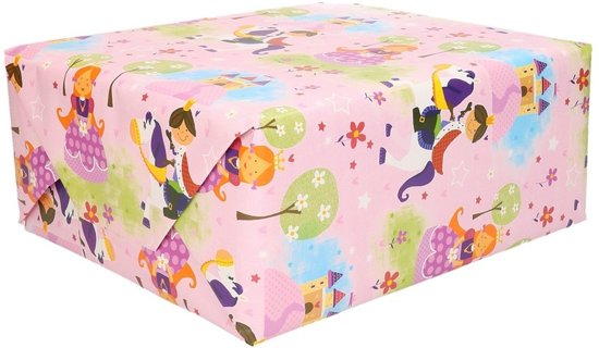 Inpakpapier met prins en prinses - 200 x 70 cm - cadeaupapier / kadopapier