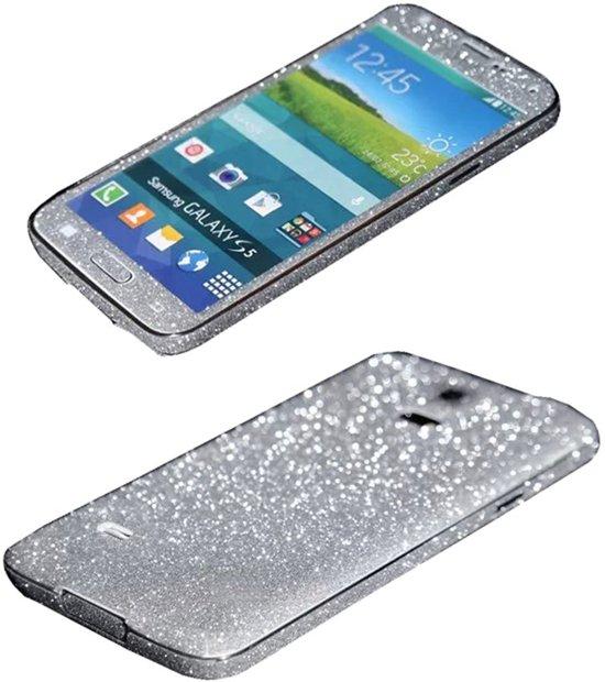 Xssive Glitter Sticker voor Samsung Galaxy S5 G900 of S5 Neo G903 Zilver Duo Pack - 2 stuks