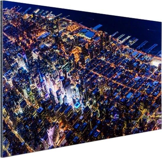 Manhattan vanaf boven bij nacht Aluminium 30x20 cm - Foto print op Aluminium (metaal wanddecoratie)