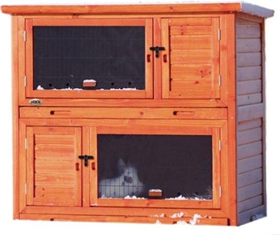Konijnenhok Natura 2 in 1 met warmte-isolatie 116x113x65cm